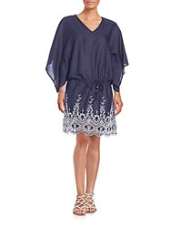 Saks Fifth Avenue Embroidered Kaftan Dress Navy White