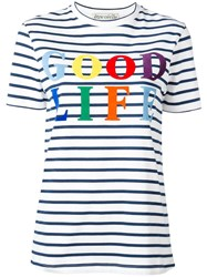 Etre Cecile 'Good Life' Print Striped T Shirt White