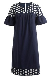 J.Crew Petite Women's Bell Sleeve Fringe Dot Dress Navy Cream
