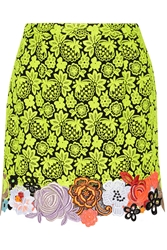 Christopher Kane Neon Guipure Lace And Cady Mini Skirt