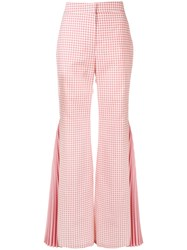 Sara Battaglia Gingham Pleated Flared Trousers Pink And Purple