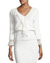 Michael Kors Crochet Trim Soutache Embroidered Top White