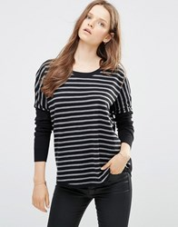 French Connection Stripe Scoop Hem Jumper In Black Black Body Grey Stri