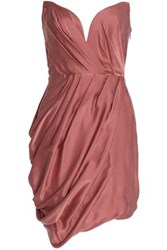 Zimmermann Strapless Wrap Effect Draped Washed Silk Mini Dress Antique Rose