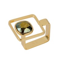 Nadia Minkoff Square Frame Ring Gold Iridescent Green Green Gold
