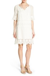 Women's Caslon Embroidered Trim Shift Dress Ivory Cloud