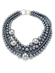 Kenneth Jay Lane Multi Strand Faux Pearl Necklace Grey