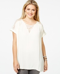 Eyeshadow Plus Size Lace Trim Woven T Shirt Brulee