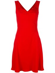 Christian Dior Fitted Waist Dress Red