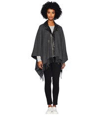 The Kooples Leather Poncho With Studs Grey Coat Gray