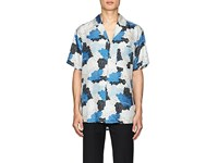 Off White C O Virgil Abloh Men's Thedrop Barneys Floral And Camouflage Silk Shirt Blue White Black Navy