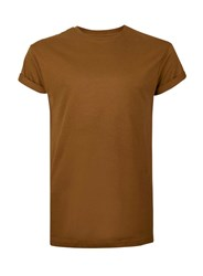 Topman Brown Tan Muscle Fit Roller Sleeve T Shirt