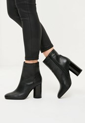 Missguided Black Faux Leather Circle Block Heeled Boots