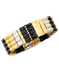 Nine West Bracelet Multi Tone Glass Crystal Wide Stretch Bracelet