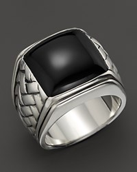 Scott Kay Sterling Silver Basketweave Ring With Onyx Center Silver Onyx