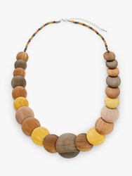 One Button Round Flat Wood Bead Necklace Chocolate Lemon