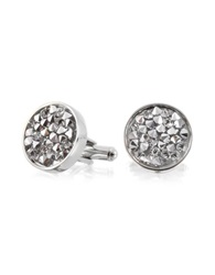 Forzieri Lumiere Crystal And Brass Round Cufflinks Silver