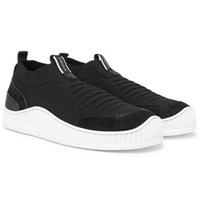 Z Zegna Suede Leather And Techmerino Mesh Slip On Sneakers Black