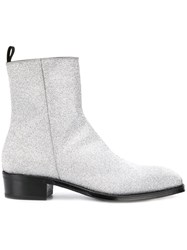 Alexander Mcqueen Zipped Ankle Boots Silver