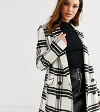 Asos Design Tall Double Breasted Check Coat Multi