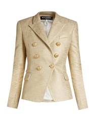 Balmain Double Breasted Lame Blazer Gold