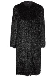 Paule Ka Black Fringed Lame Coat