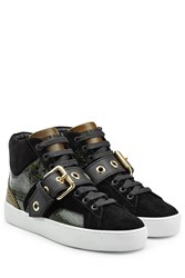 Burberry Shoes And Accessories Leather High Top Sneakers With Suede And Snakeskin Green