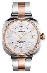 Women's Shinola 'Gomelsky' Bracelet Watch 36Mm Silver Rose Gold Mop