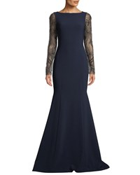 Theia Crepe Trumpet Gown W Beaded Sleeves Navy