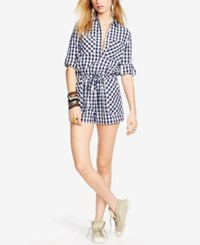 Denim And Supply Ralph Lauren Checked Romper Navy