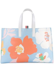 Thom Browne Floral Tote Bag Women Calf Leather One Size Blue