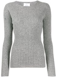 Allude Long Sleeve Ribbed Jumper Grey