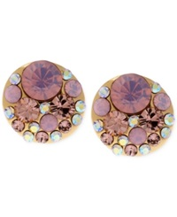 Betsey Johnson Gold Tone Pink Faceted Bead Stud Earrings