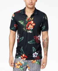 Lrg Men's Double Shots Floral Print Polo Black