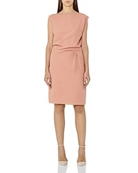 Reiss Kier Draped Pleat Dress Salmon