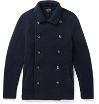 Giorgio Armani Slim Fit Double Breasted Cashmere Blend Coat Navy
