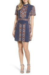 Kas 'S New York Luton Embroidered A Line Dress Navy