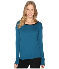 Calvin Klein Jeans V Back Solid Long Sleeve Shirt Electric Teal Women's Clothing Blue