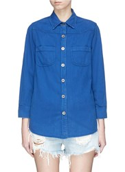 Sandrine Rose 'The Mulholland' Boyfriend Denim Shirt Blue