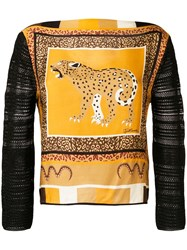 Just Cavalli Leopard Print Panelled Sweater Brown