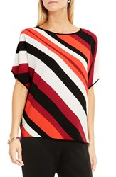 Vince Camuto Women's Dolman Sleeve Mixed Media Tee Dynamic Red