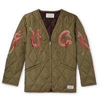 Wacko Maria Embroidered Quilted Shell Jacket Green