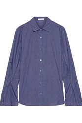 Stateside Woman Fluted Striped Cotton Broadcloth Shirt Blue