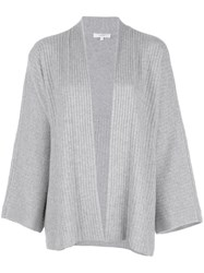 Vince Ribbed Knit Cardigan Grey