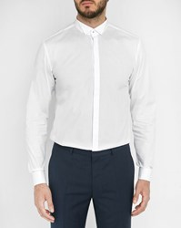 Hugo Hugo Boss White Evening Wing Collar High Buttoning Poplin Shirt