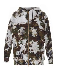 Off White Camouflage Print Hooded Sweatshirt