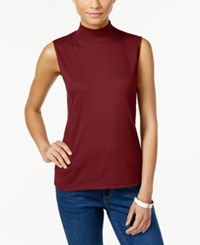 Karen Scott Sleeveless Mock Turtleneck Top Only At Macy's Garnet