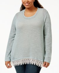 Eyeshadow Plus Size Long Sleeve Crochet Trim Top Polar Gray