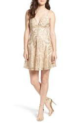Speechless Embroidered Fit And Flare Dress Nude Gold