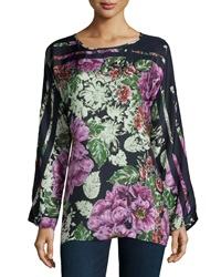 Johnny Was Long Sleeve Floral Print Silk Blouse